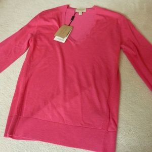 Burberry Cashmere Check-Elbow Pink Sweater (Small)